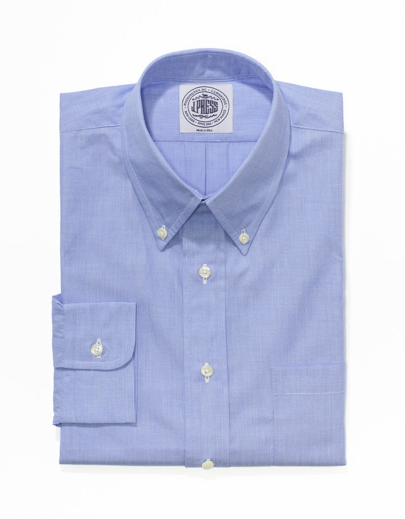 J. PRESS BLUE END-ON-END DRESS SHIRT