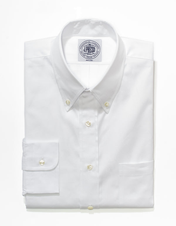 WHITE PINPOINT BUTTON DOWN SHIRT