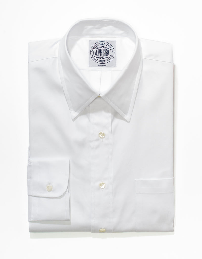 WHITE PINPOINT POINT COLLAR BUTTON DOWN SHIRT