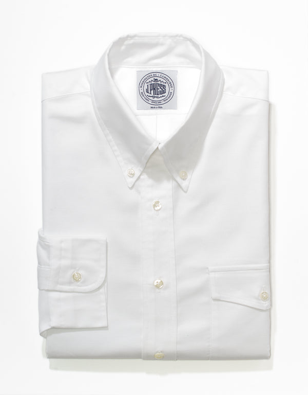 WHITE OXFORD BUTTON DOWN SHIRT WITH FLAP POCKET