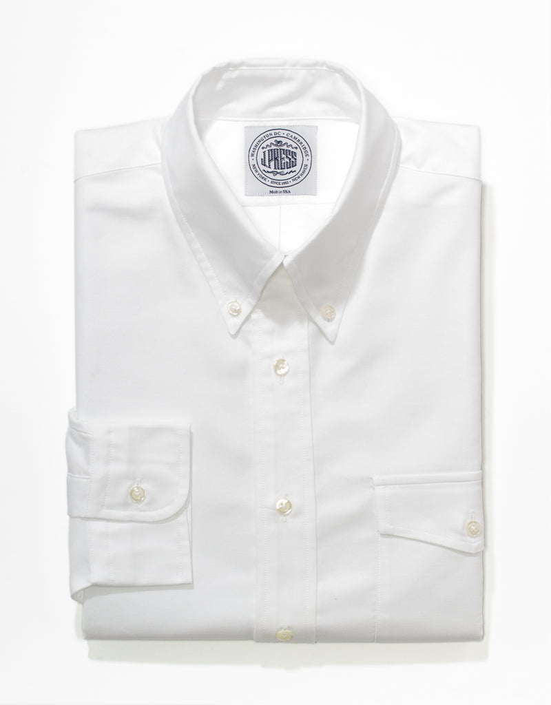 WHITE OXFORD W/ FLAP POCKET DRESS SHIRT