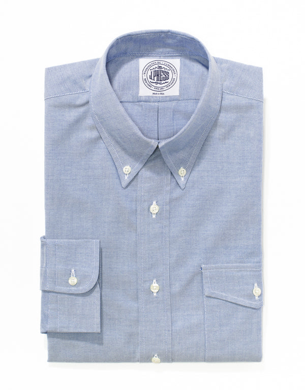 BLUE OXFORD BUTTON DOWN SHIRT WITH FLAP POCKET