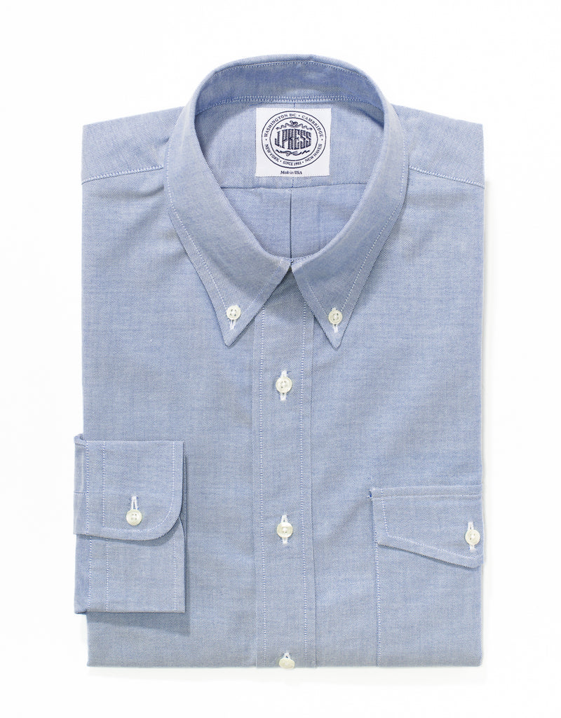 J. PRESS BLUE OXFORD DRESS SHIRT WITH FLAP POCKET