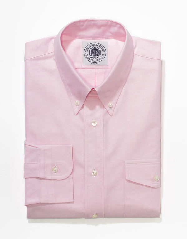 J. PRESS PINK OXFORD W/ FLAP POCKET DRESS SHIRT