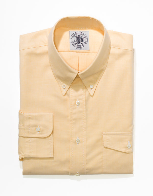 YELLOW OXFORD BUTTON DOWN SHIRT W/FLAP POCKET