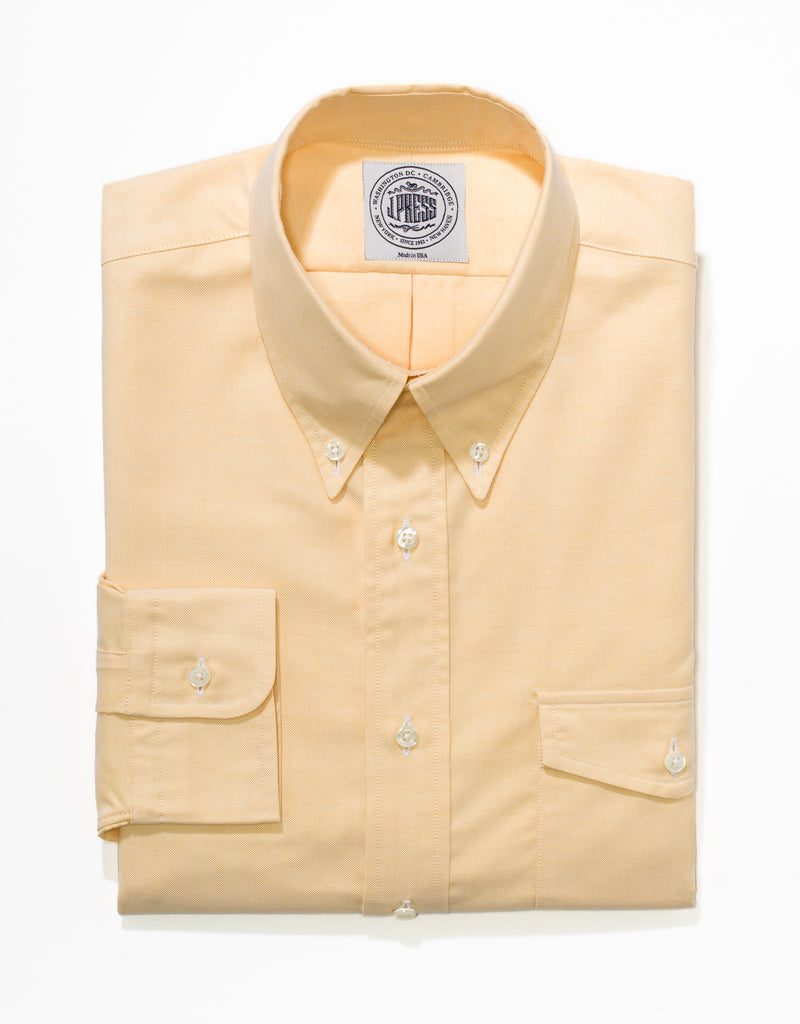 YELLOW OXFORD W/FLAP POCKET DRESS SHIRT