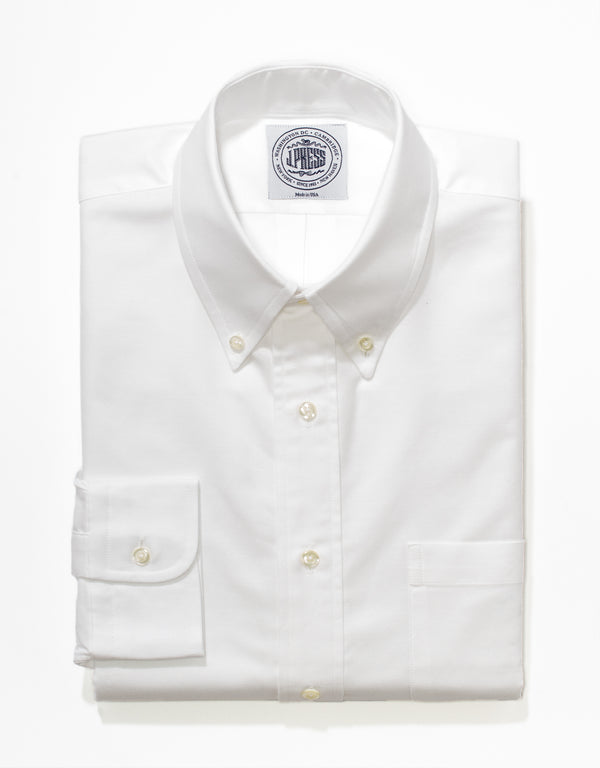 J, PRESS WHITE OXFORD DRESS SHIRT