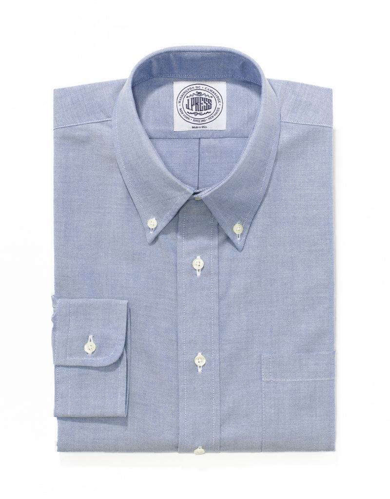 J, PRESS BLUE OXFORD DRESS SHIRT