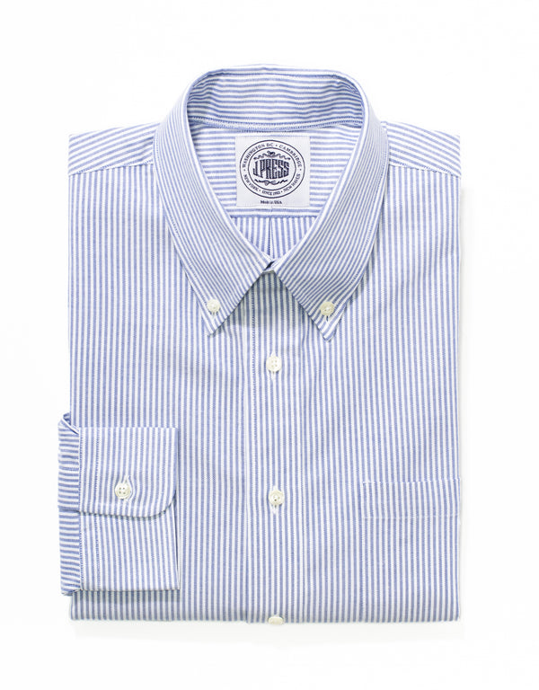 J. PRESS BLUE/WHITE STRIPE OXFORD DRESS SHIRT