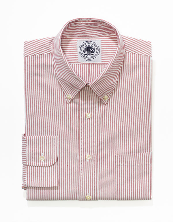 RED/WHITE OXFORD BROADCLOTH DRESS SHIRT