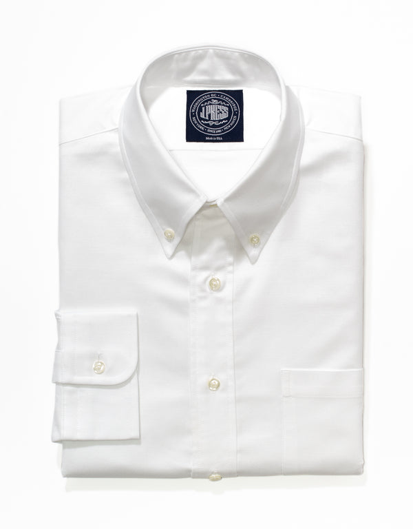 J. PRESS WHITE OXFORD DRESS SHIRT - TRIM FIT