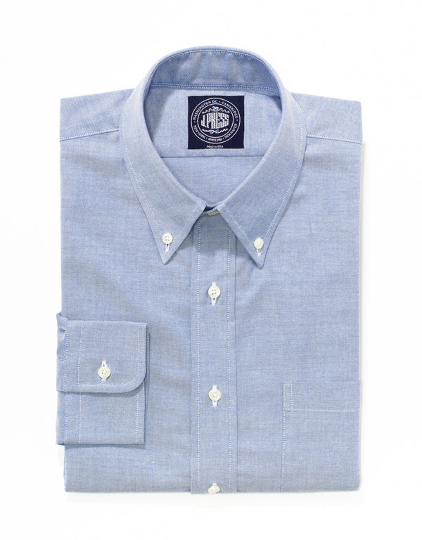 J. PRESS BLUE OXFORD DRESS SHIRT - TRIM FIT