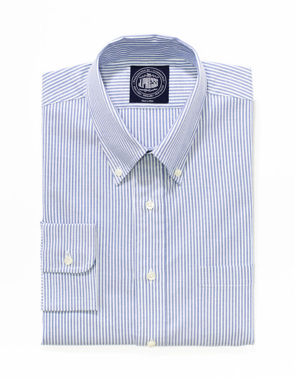 J. PRESS BLUE/WHITE STRIPE OXFORD DRESS SHIRT - TRIM FIT