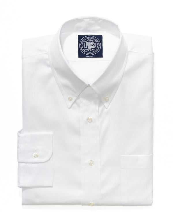 WHITE PINPOINT BUTTON DOWN SHIRT TRIM FIT