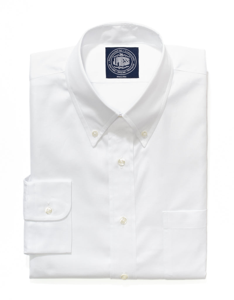WHITE PINPOINT BUTTON DOWN SHIRT - TRIM FIT