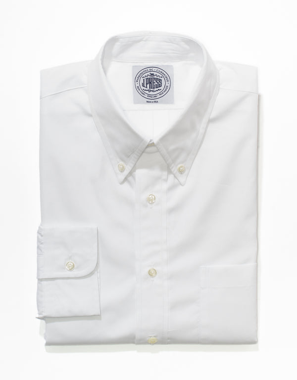 WHITE BROADCLOTH BUTTON DOWN SHIRT