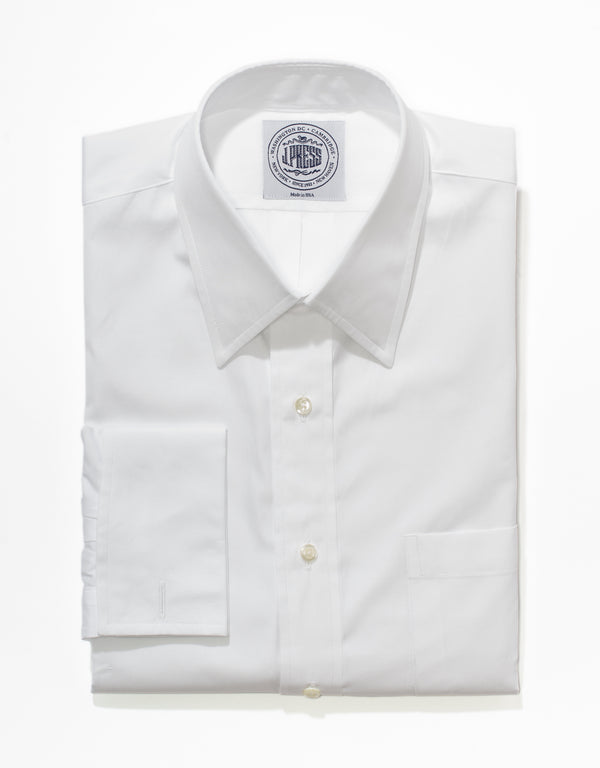 WHITE BROADCLOTH POINT COLLAR FRENCH CUFF BUTTON DOWN SHIRT