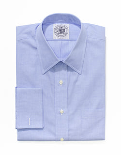 BLUE END-ON-END SHIRT WITH FRENCH CUFF DRESS SHIRT