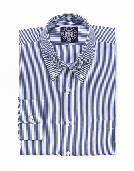 NAVY WHITE CANDY STRIPE BROADCLOTH DRESS SHIRT - TRIM FIT