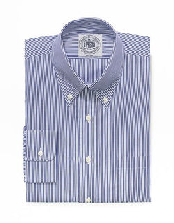 NAVY WHITE CANDY STRIPE BROADCLOTH DRESS SHIRT