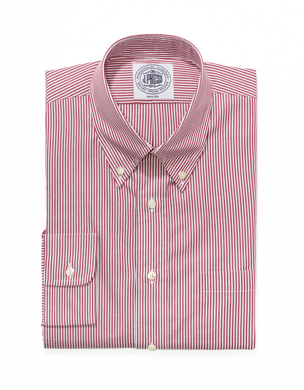 RED WHITE CANDY STRIPE BROADCLOTH DRESS SHIRT