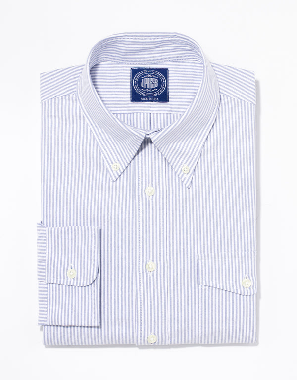 BLUE/WHITE OXFORD W/ FLAP POCKET DRESS SHIRT - TRIM FIT