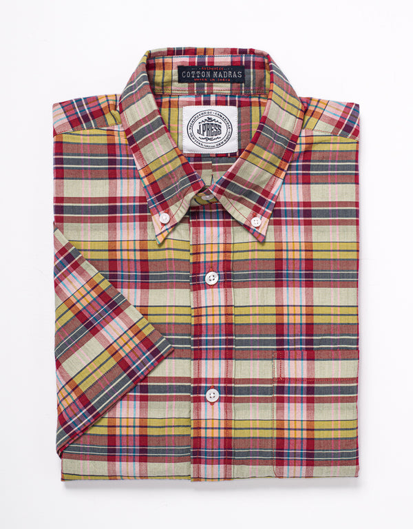 MADRAS SHORT SLEEVE SHIRT - RED/GOLD/TAN