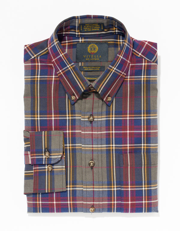 VIYELLA BROWN CHECK SPORT SHIRT