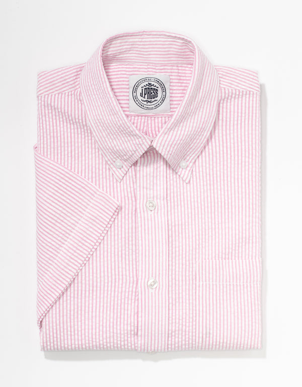 J. PRESS SEERSUCKER SHORT SLEEVE SHIRT - PINK/WHITE