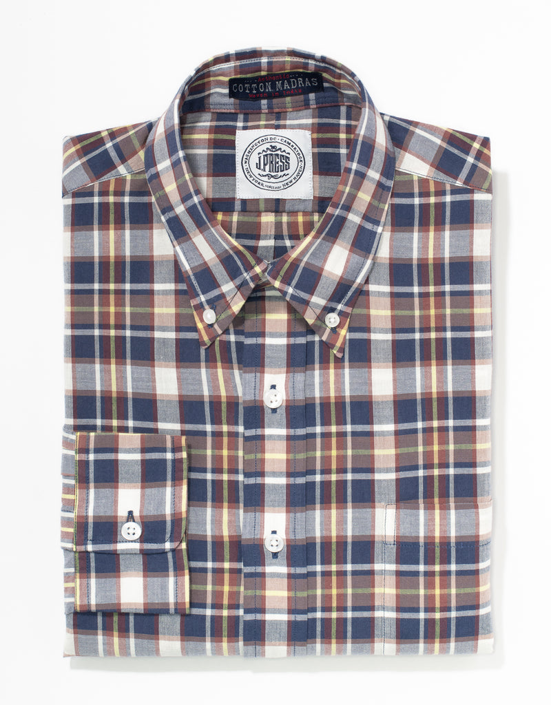 J. PRESS MADRAS LONG SLEEVE SHIRT - NAVY/WHITE/RED