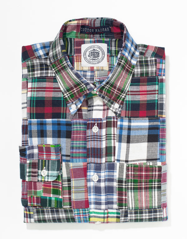 J. PRESS PATCHWORK MADRAS LONG SLEEVE SHIRT