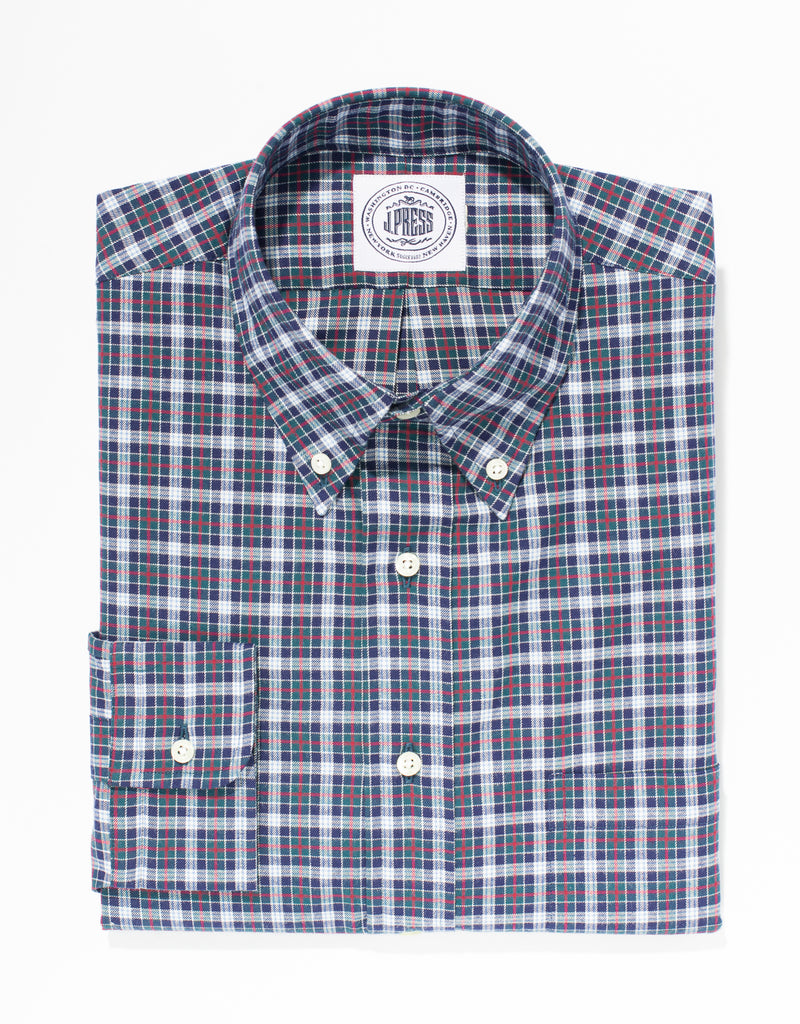 NAVY BRUSHED COTTON PLAID SPORT SHIRT