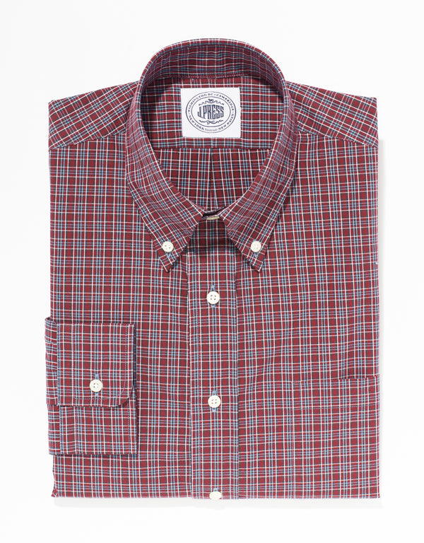 RED COTTON MINI PLAID SPORT SHIRT