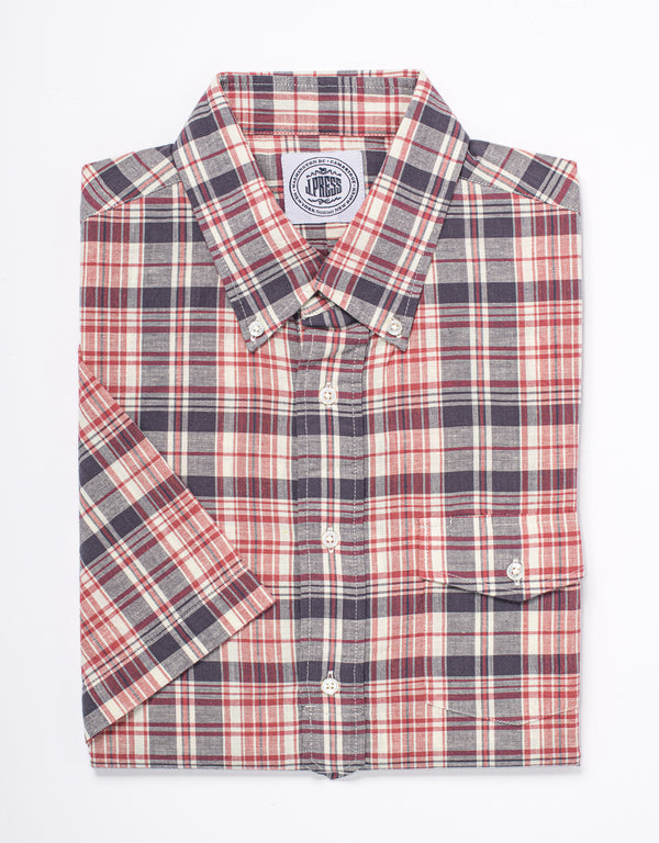 TRIM FIT MADRAS SHORT SLEEVE POPOVER - RED/NAVY