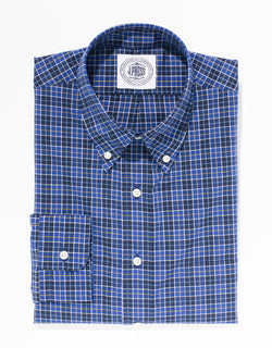BLUE COTTON MINI PLAID SPORT SHIRT