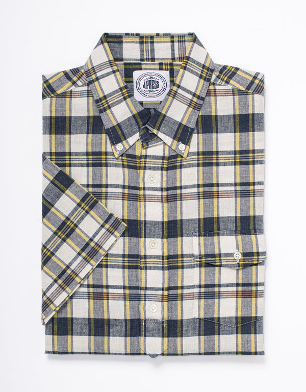 TRIM FIT MADRAS SHORT SLEEVE POPOVER - NAVY/YELLOW