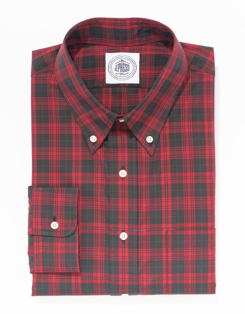 RED COTTON TARTAN SPORT SHIRT