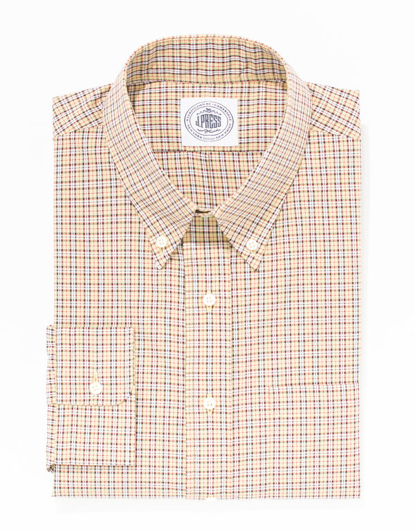 TAN COTTON MINI TARTAN SPORT SHIRT