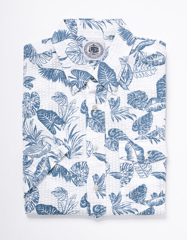 TRIM FIT SEERSUCKER SHORT SLEEVE POPOVER - BLUE FLOWER