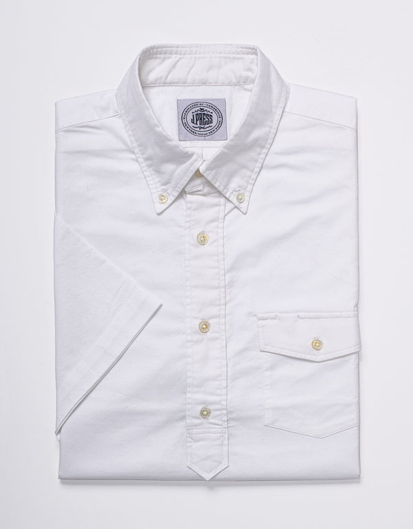 TRIM FIT OXFORD SHORT SLEEVE POPOVER - WHITE