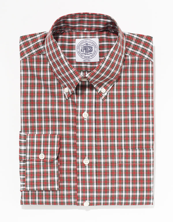 WHITE/RED COTTON TARTAN SPORT SHIRT