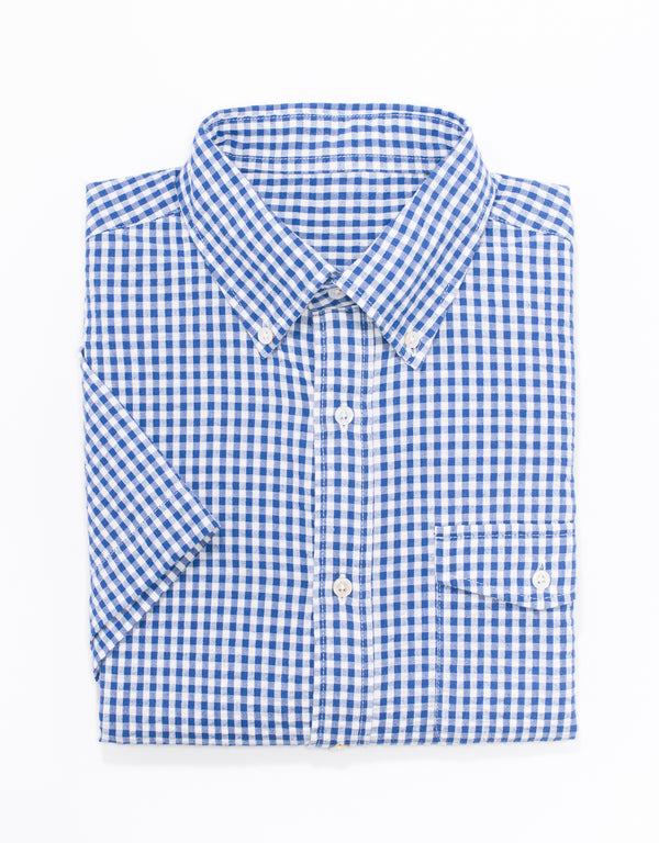 BLUE/WHITE CHECK SEERSUCKER SHORT SLEEVE BUTTON SHIRT - TRIM FIT