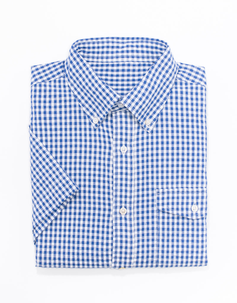 BLUE/WHITE CHECK SEERSUCKER  SHIRT TRIM FIT