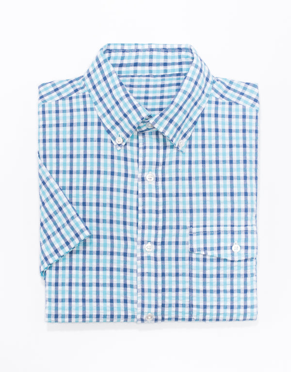 BLUE/TEAL CHECK SEERSUCKER SHORT SLEEVE SPORT SHIRT - TRIM FIT