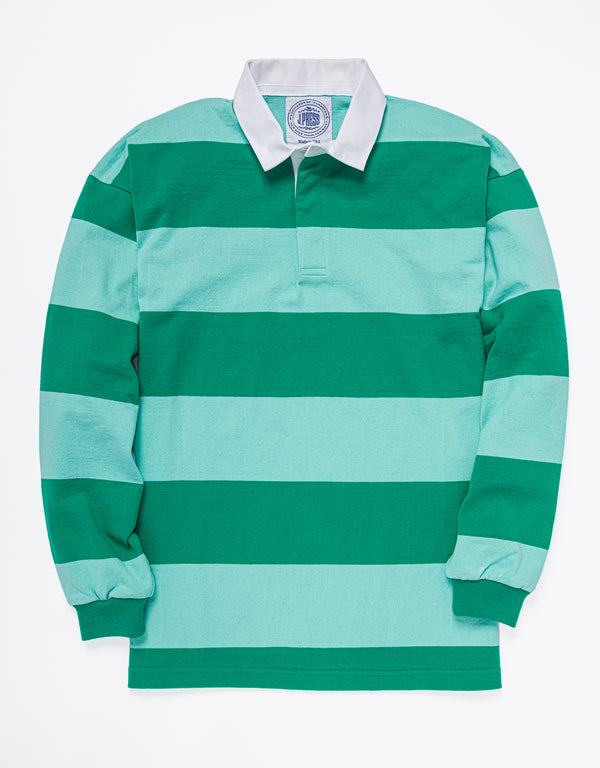 CLASSIC STRIPE RUGBY SHIRT - GREEN/LIGHT GREEN