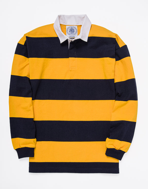 CLASSIC STRIPE RUGBY SHIRT - NAVY/GOLD