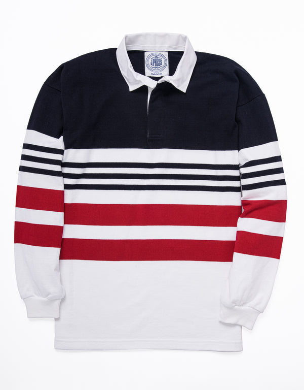 MULTI STRIPE RUGBY SHIRT - NAVY/WHITE/RED
