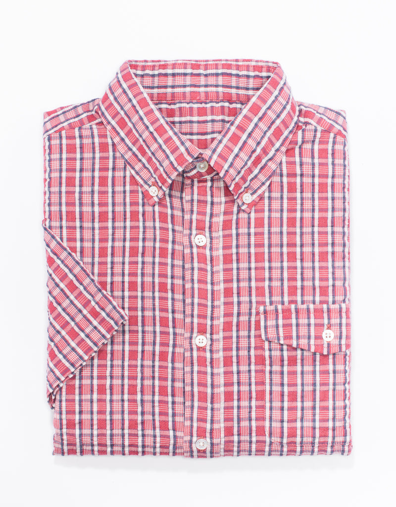 RED PLAID SEERSUCKER SHORT SLEEVE SPORT SHIRT - TRIM FIT