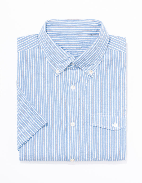 BLUE STRIPE SEERSUCKER SHORT SLEEVE SPORT SHIRT - TRIM FIT