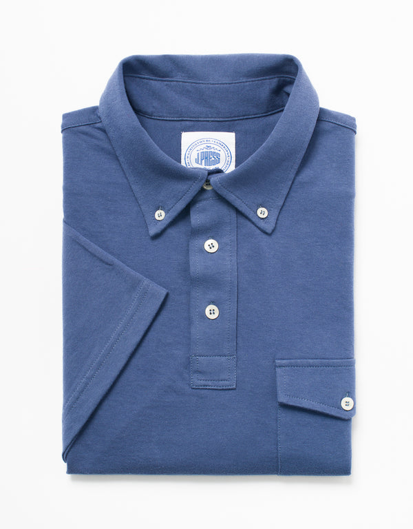 SOLID JERSEY BUTTON DOWN POLO - BLUE
